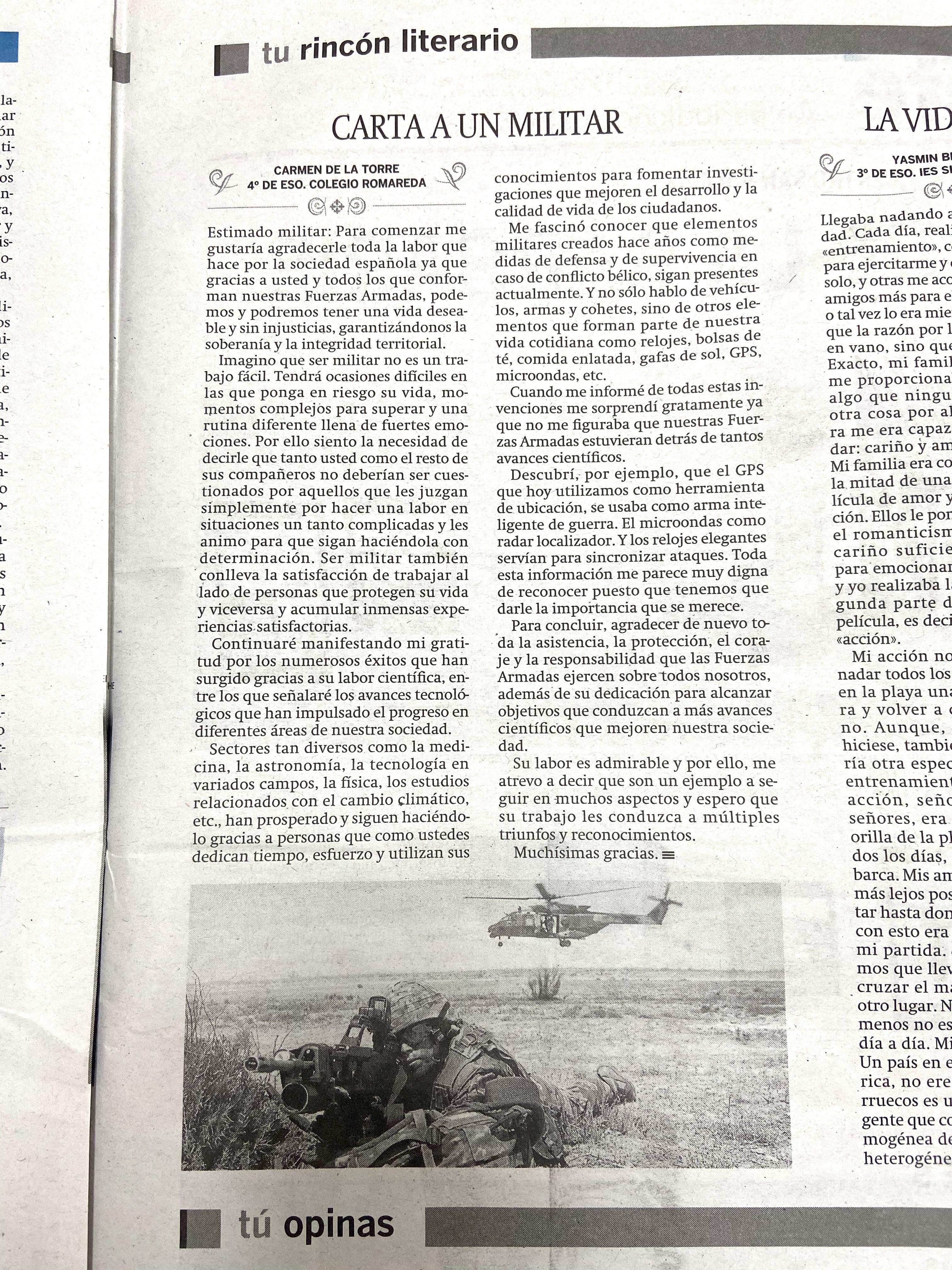 Carta A Un Militar De Nuestros Alumnos Colegio Romareda